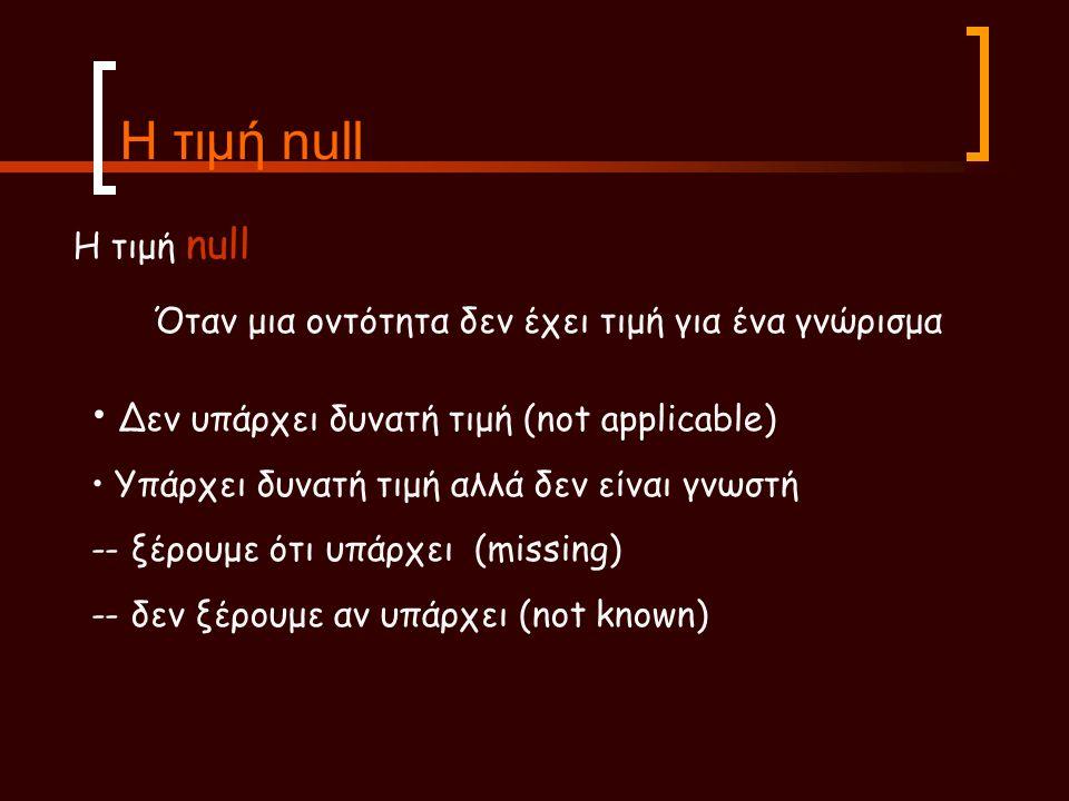 Η τιμή null Η τιμή null. Όταν μια οντότητα δεν έχει τιμή για ένα γνώρισμα. Δεν υπάρχει δυνατή τιμή (not applicable)