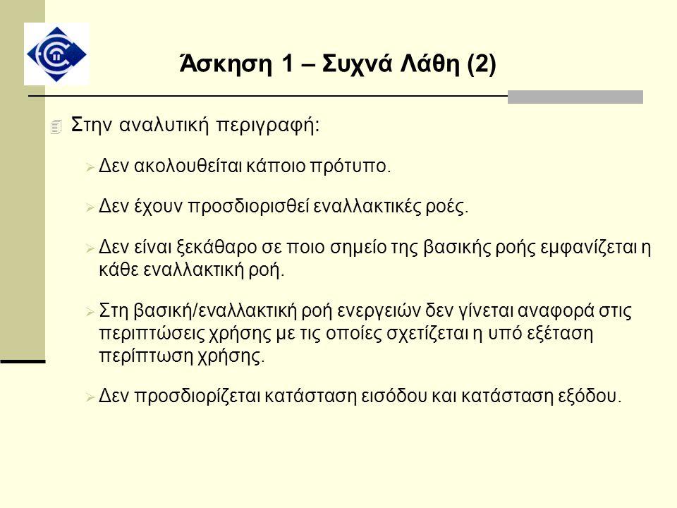Άσκηση 1 – Συχνά Λάθη (2) Στην αναλυτική περιγραφή: