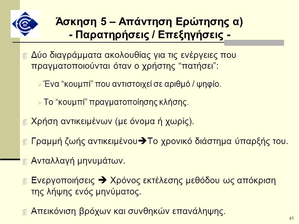 Άσκηση 5 – Απάντηση Ερώτησης α) - Παρατηρήσεις / Επεξηγήσεις -