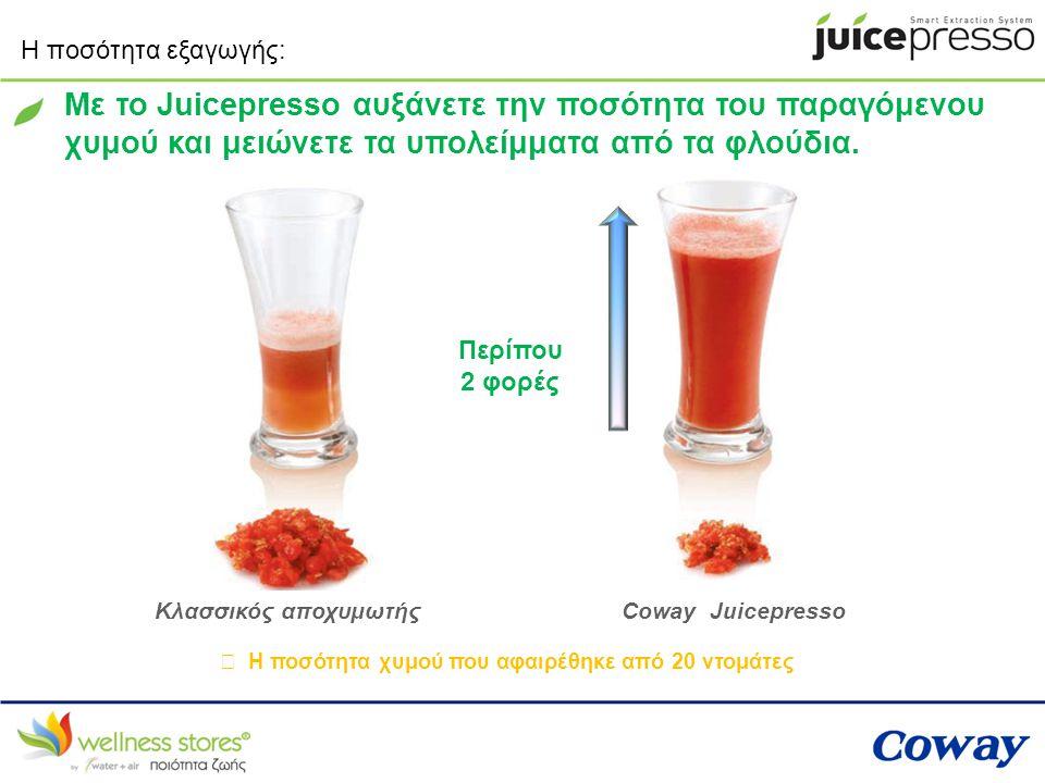 Με το Juicepresso αυξάνετε την ποσότητα του παραγόμενου
