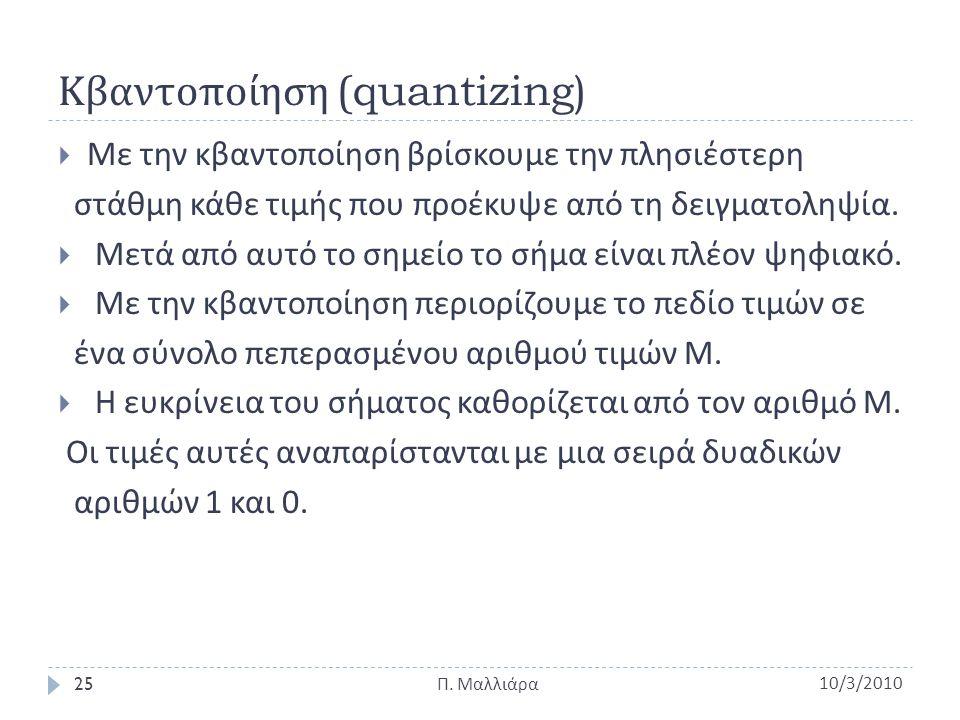Κβαντοποίηση (quantizing)