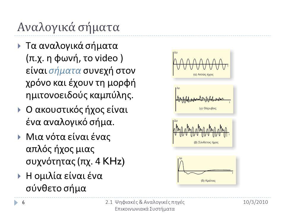 2.1 Ψηφιακές & Αναλογικές πηγές Επικοινωνιακά Συστήματα