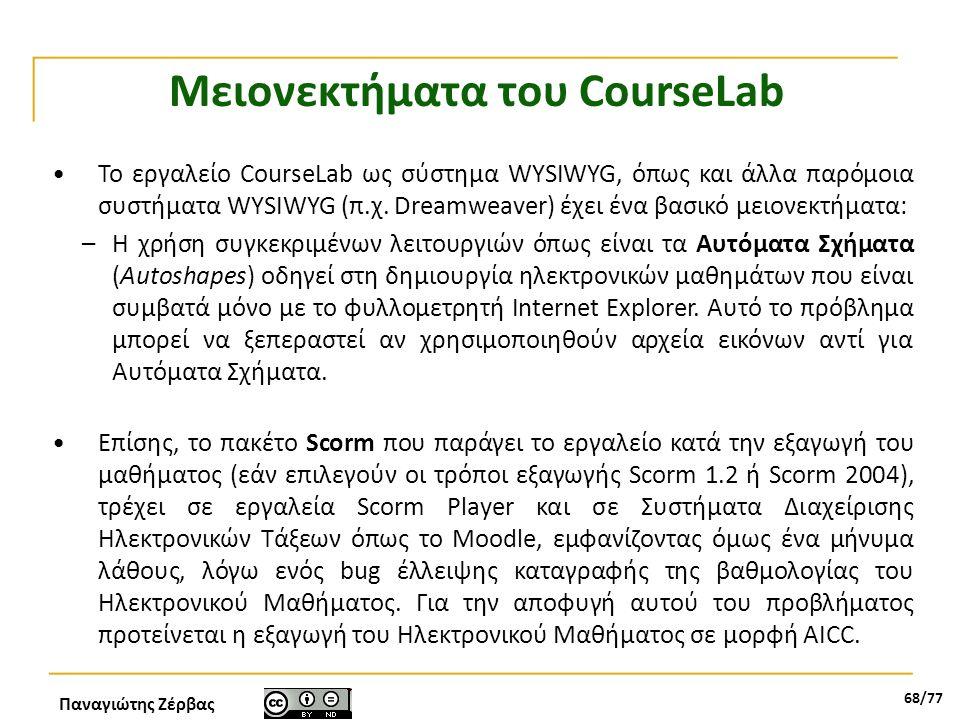 Μειονεκτήματα του CourseLab