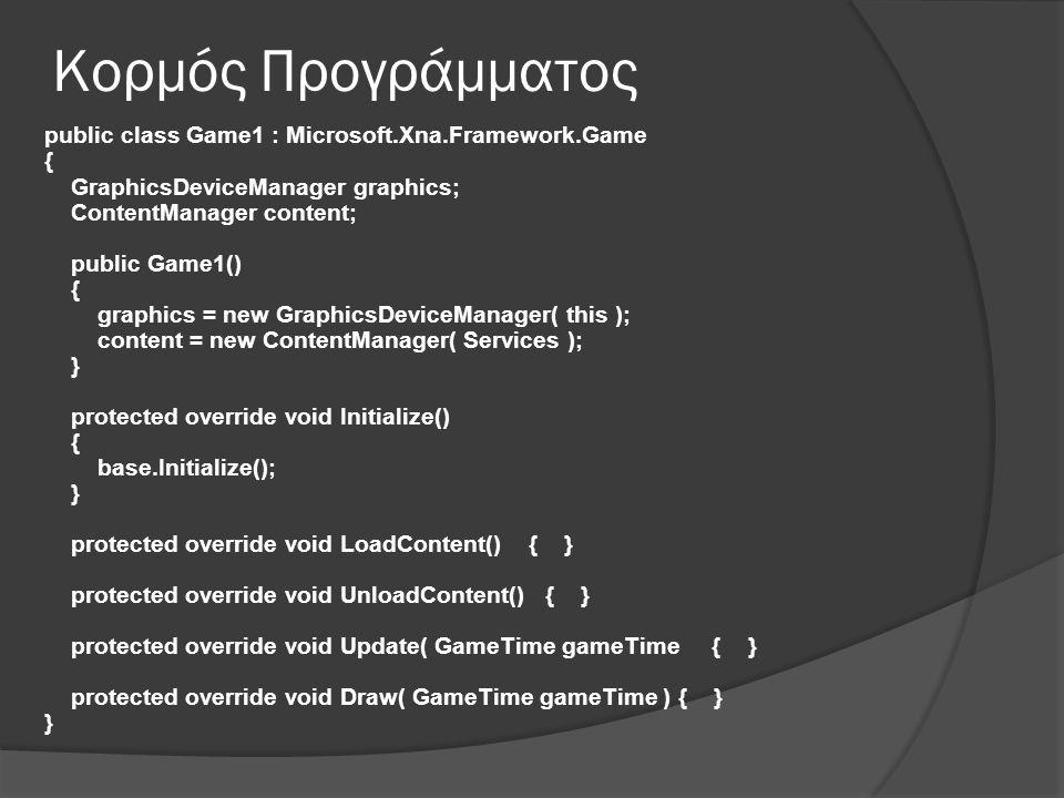 Κορμός Προγράμματος public class Game1 : Microsoft.Xna.Framework.Game