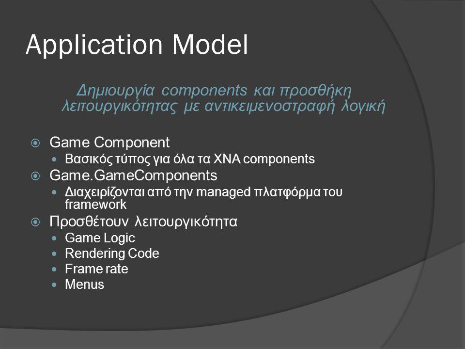 4/3/2017 9:57 AM Application Model. Δημιουργία components και προσθήκη λειτουργικότητας με αντικειμενοστραφή λογική.
