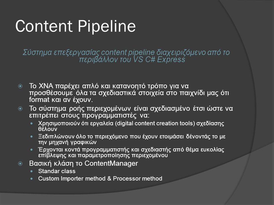 4/3/2017 9:57 AM Content Pipeline. Σύστημα επεξεργασίας content pipeline διαχειριζόμενο από το περιβάλλον του VS C# Express.