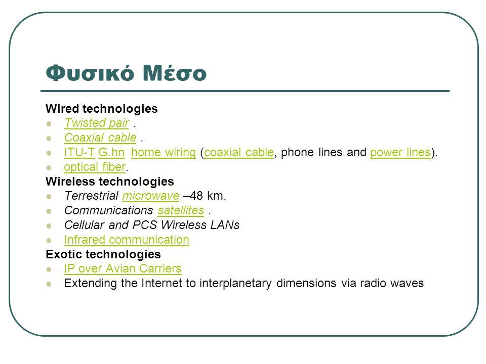 Φυσικό Μέσο Wired technologies Twisted pair . Coaxial cable .