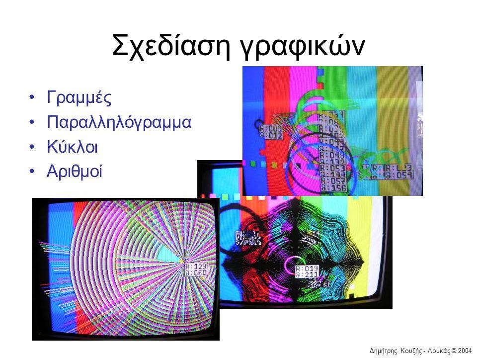Σχεδίαση γραφικών Γραμμές Παραλληλόγραμμα Κύκλοι Αριθμοί