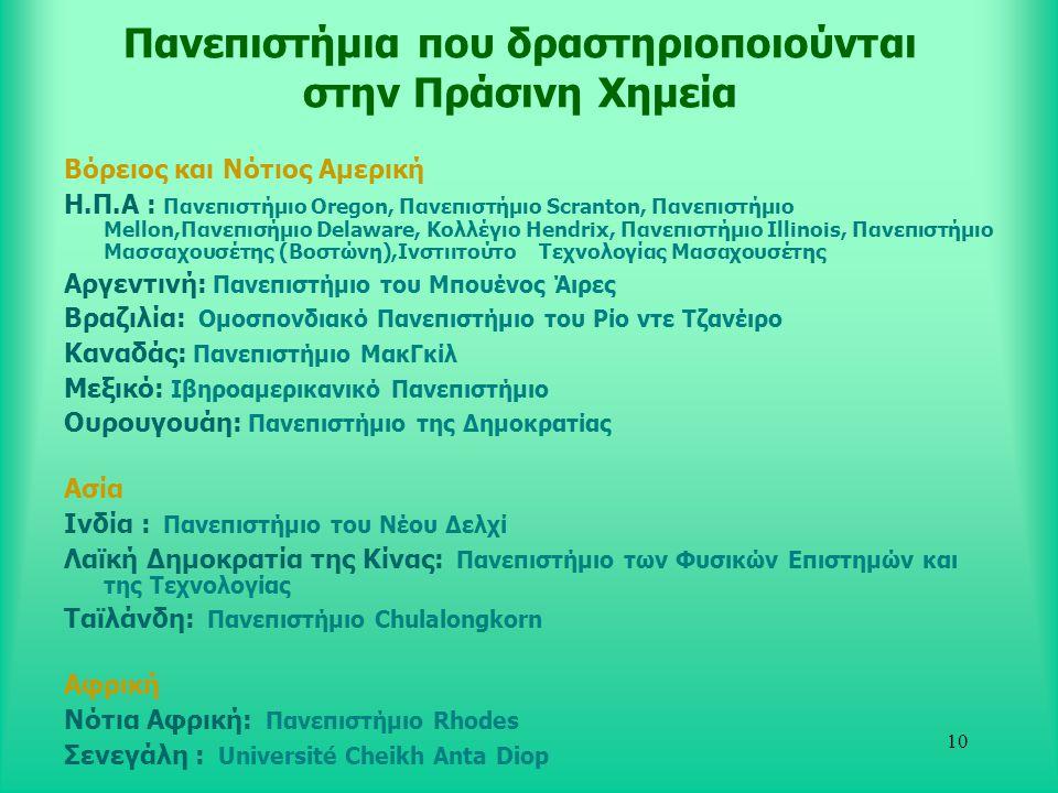 Πανεπιστήμια που δραστηριοποιούνται στην Πράσινη Χημεία