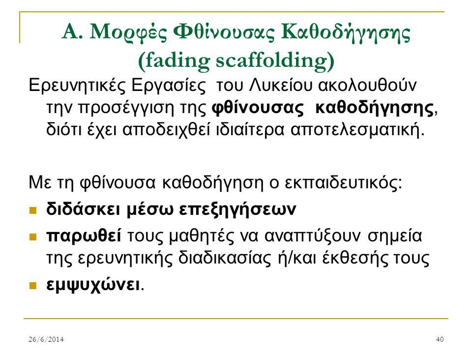 Α. Μορφές Φθίνουσας Καθοδήγησης (fading scaffolding)
