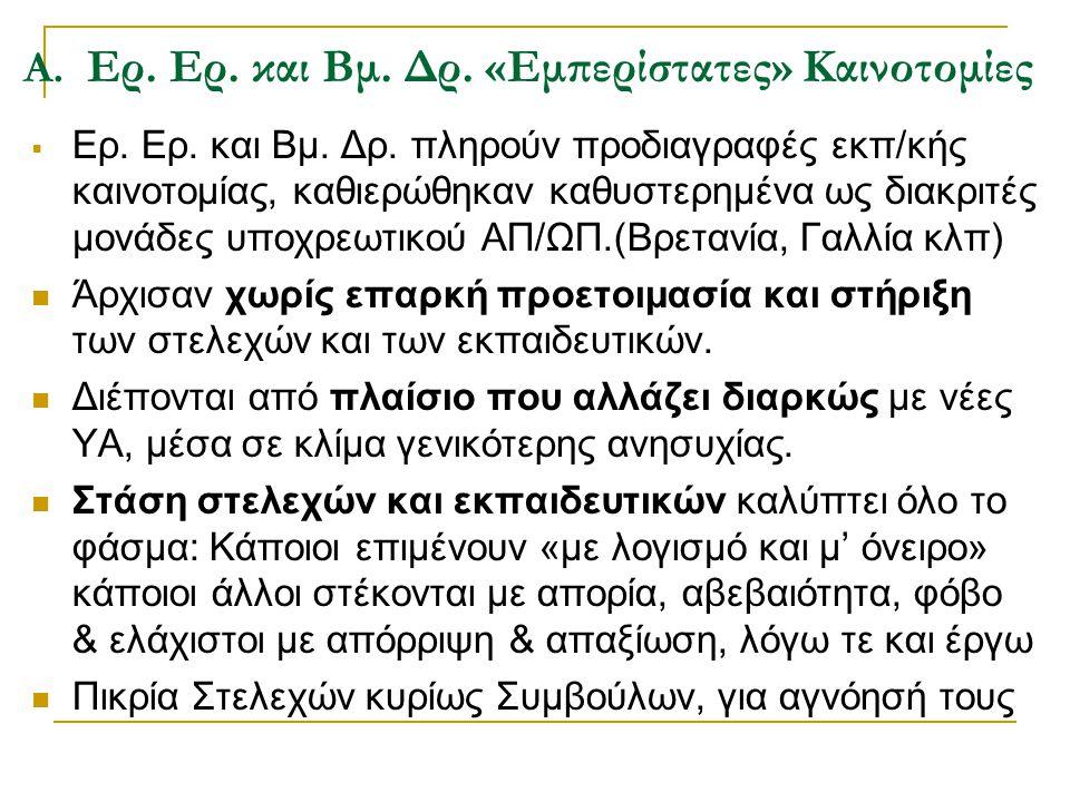 Α. Ερ. Ερ. και Βμ. Δρ. «Εμπερίστατες» Καινοτομίες