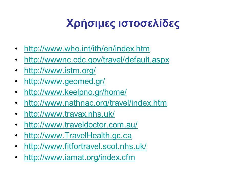 Χρήσιμες ιστοσελίδες http://www.who.int/ith/en/index.htm