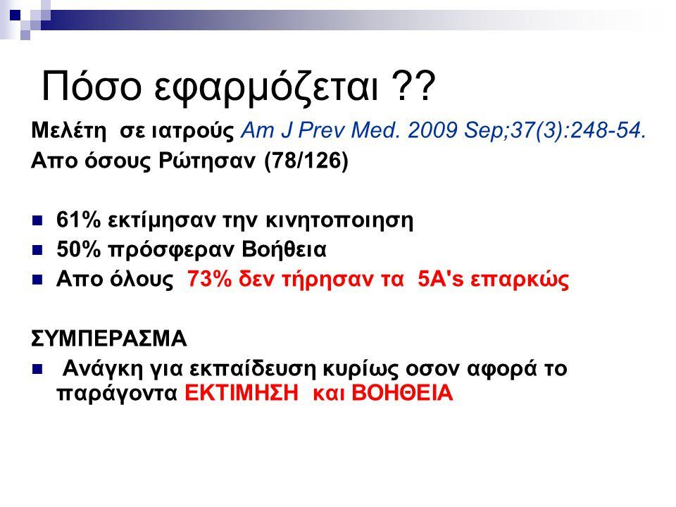 Πόσο εφαρμόζεται Μελέτη σε ιατρούς Am J Prev Med. 2009 Sep;37(3):248-54. Απο όσους Ρώτησαν (78/126)