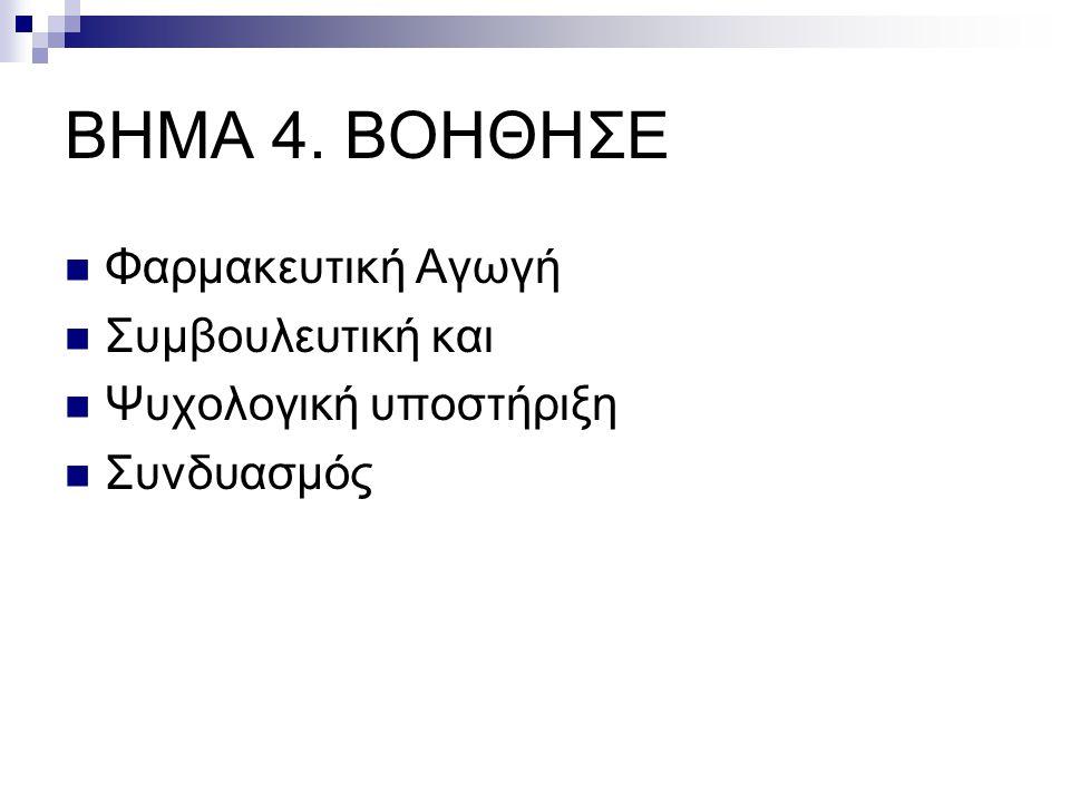 ΒΗΜΑ 4. ΒΟΗΘΗΣΕ Φαρμακευτική Αγωγή Συμβουλευτική και
