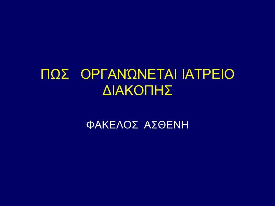 ΠΩΣ ΟΡΓΑΝΏΝΕΤΑΙ ΙΑΤΡΕΙΟ ΔΙΑΚΟΠΗΣ
