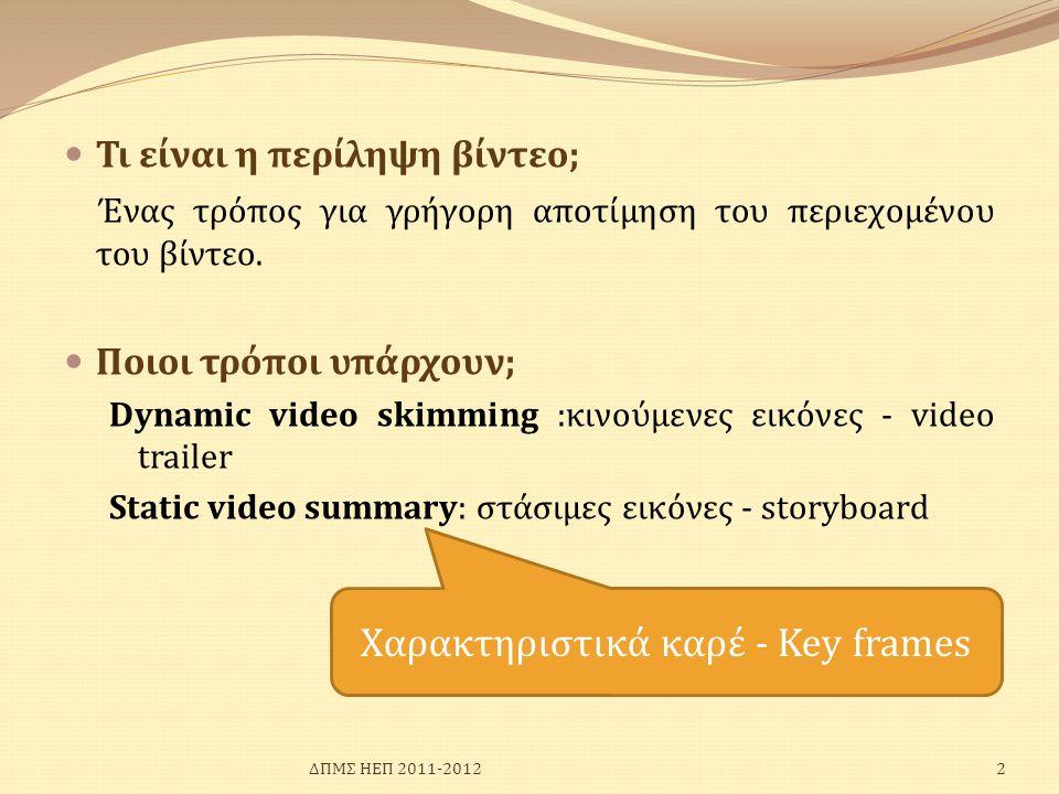 Χαρακτηριστικά καρέ - Key frames