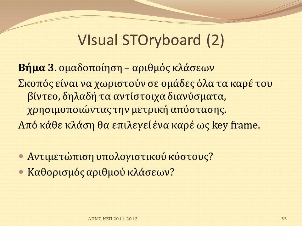 VIsual SΤΟryboard (2) Bήμα 3. ομαδοποίηση – αριθμός κλάσεων