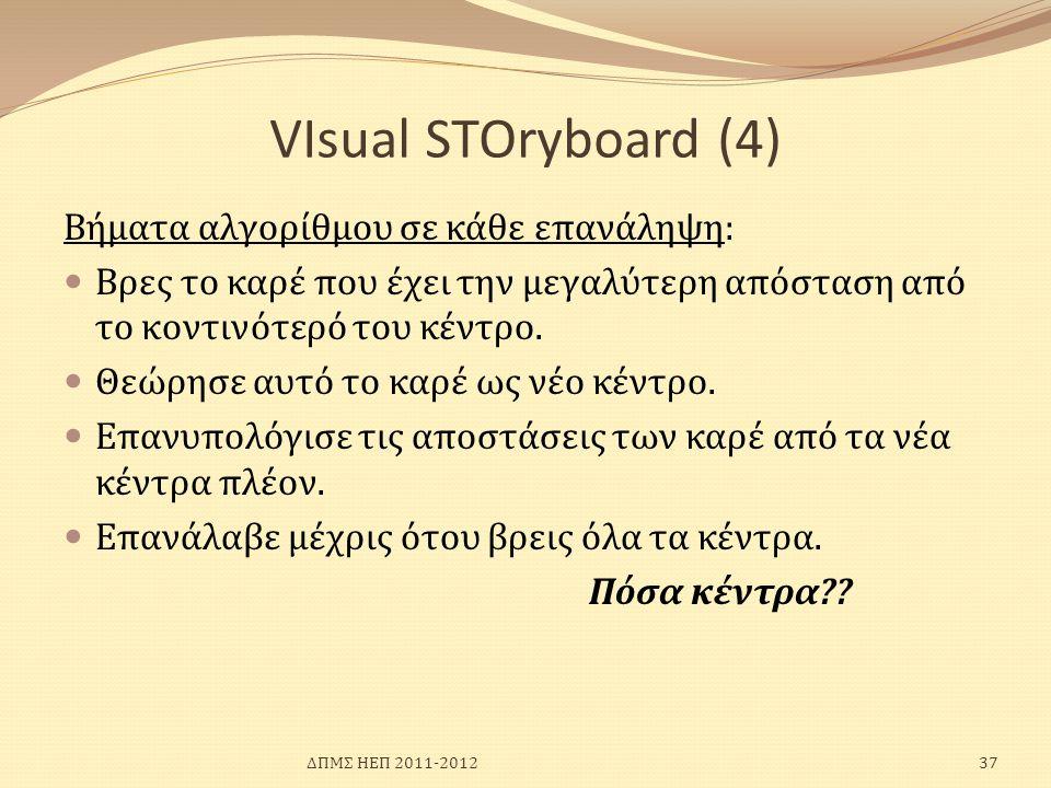 VIsual SΤΟryboard (4) Βήματα αλγορίθμου σε κάθε επανάληψη: