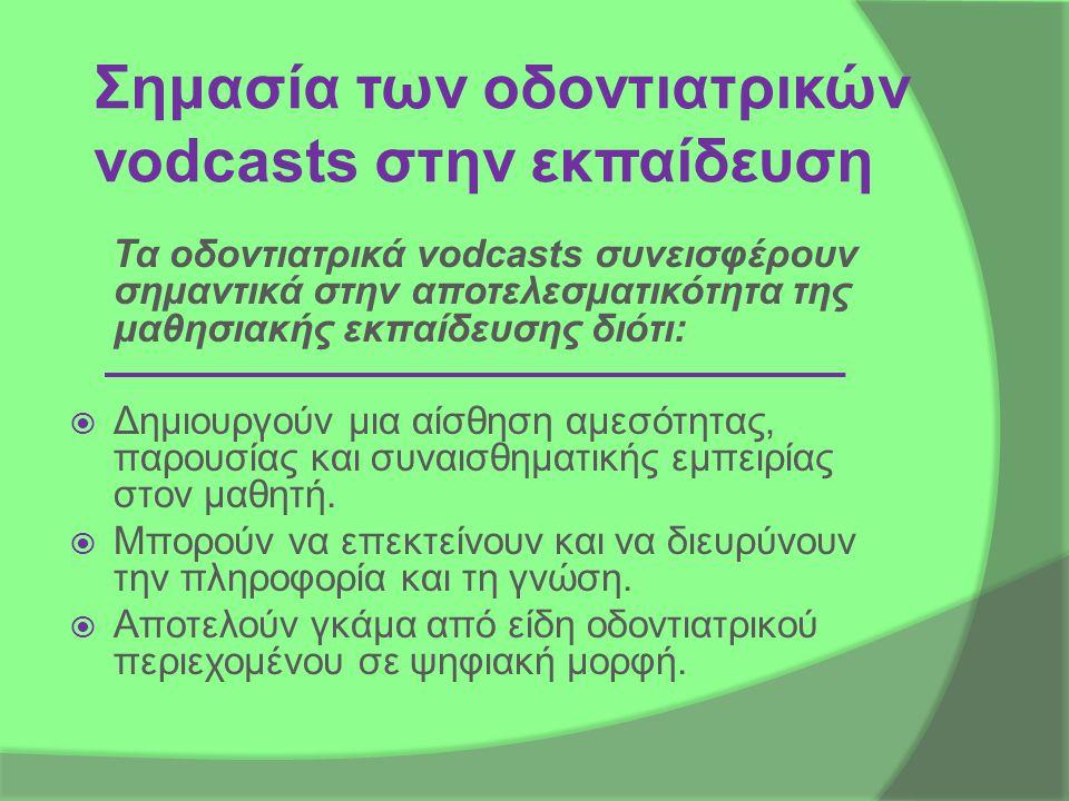 Σημασία των οδοντιατρικών vodcasts στην εκπαίδευση