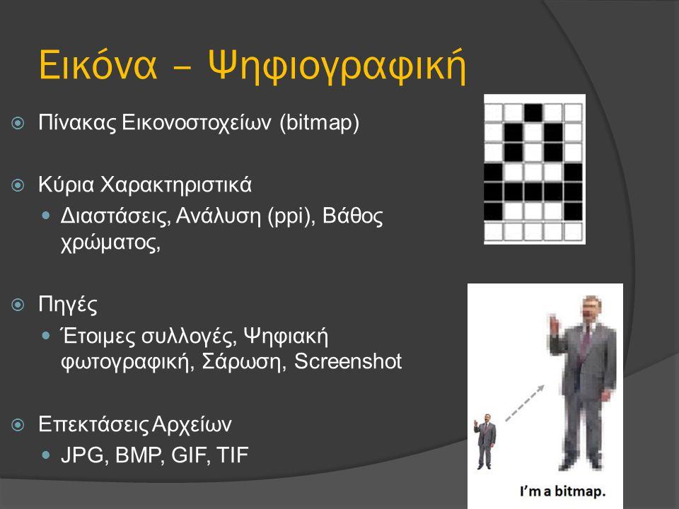 Εικόνα – Ψηφιογραφική Πίνακας Εικονοστοχείων (bitmap)