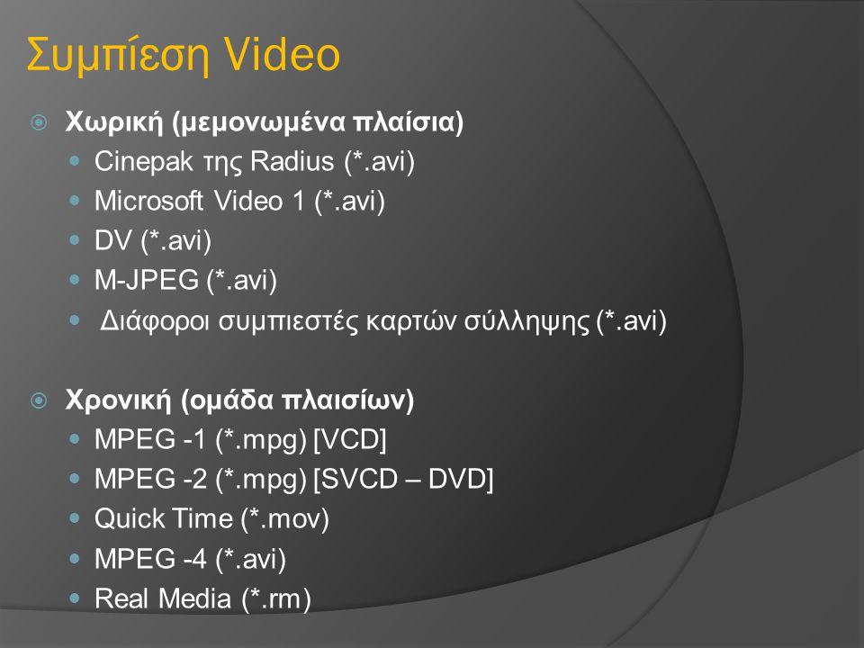 Συμπίεση Video Χωρική (μεμονωμένα πλαίσια) Cinepak της Radius (*.avi)
