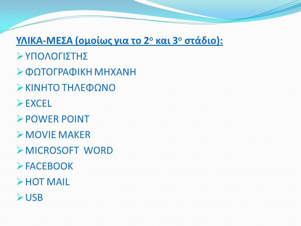 ΥΛΙΚΑ-ΜΕΣΑ (ομοίως για το 2ο και 3ο στάδιο):
