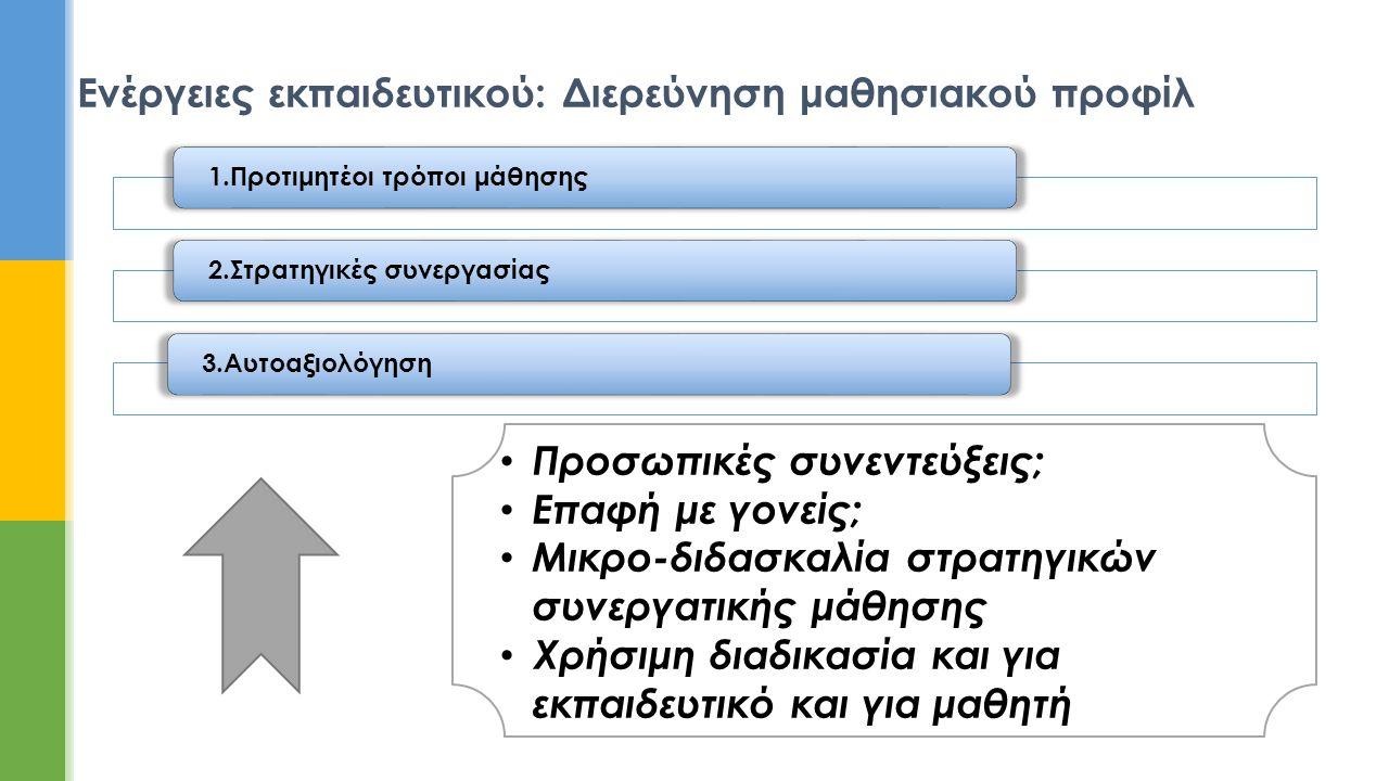 Ενέργειες εκπαιδευτικού: Διερεύνηση μαθησιακού προφίλ