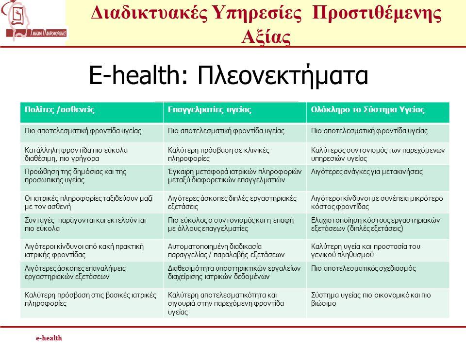 E-health: Πλεονεκτήματα