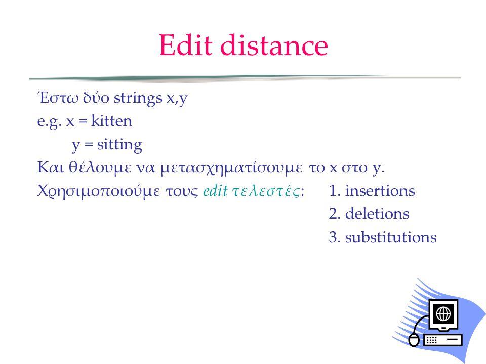 Edit distance Έστω δύο strings x,y e.g. x = kitten y = sitting