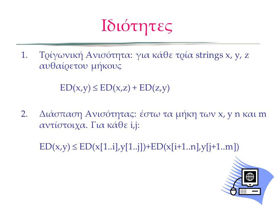 Ιδιότητες Τρίγωνική Ανισότητα: για κάθε τρία strings x, y, z αυθαίρετου μήκους ED(x,y) ≤ ED(x,z) + ED(z,y)