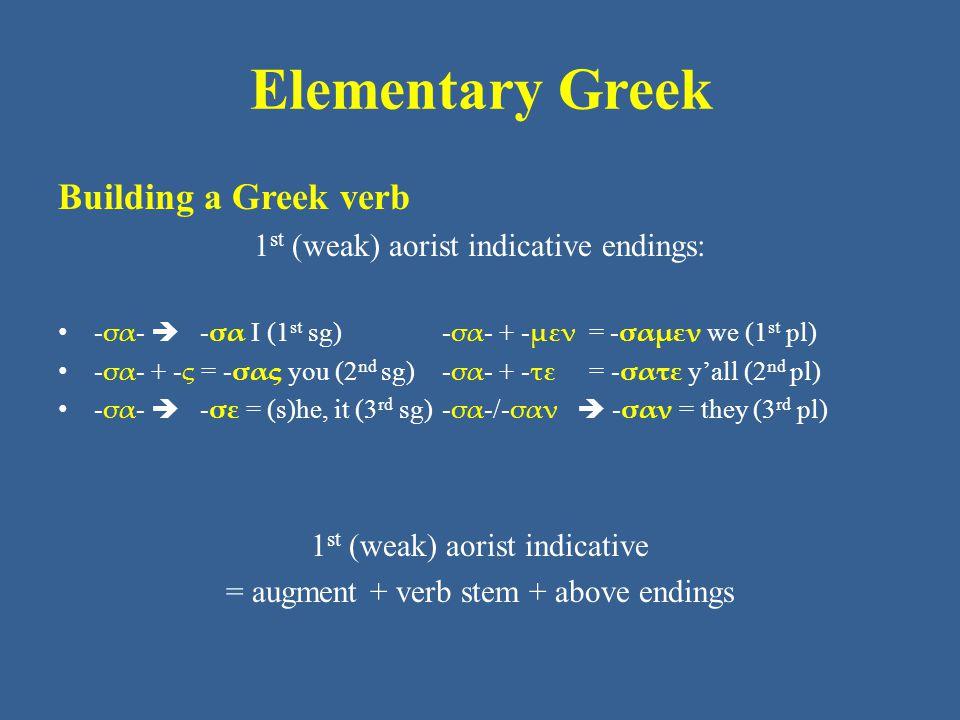 Elementary Greek Building a Greek verb