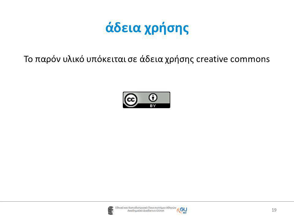 Το παρόν υλικό υπόκειται σε άδεια χρήσης creative commons