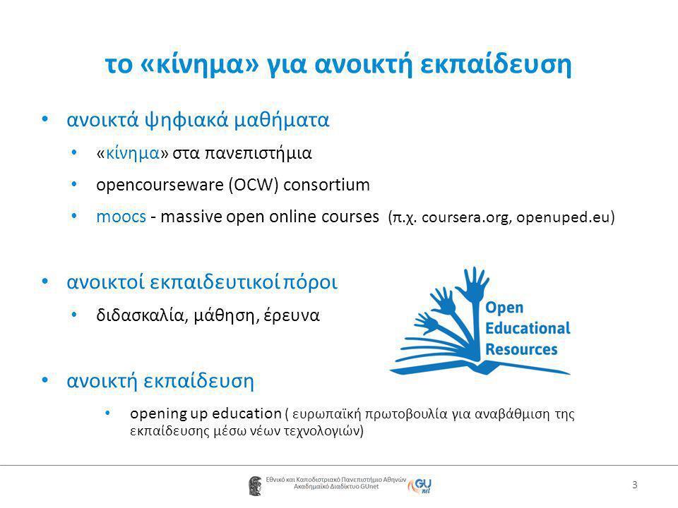 το «κίνημα» για ανοικτή εκπαίδευση