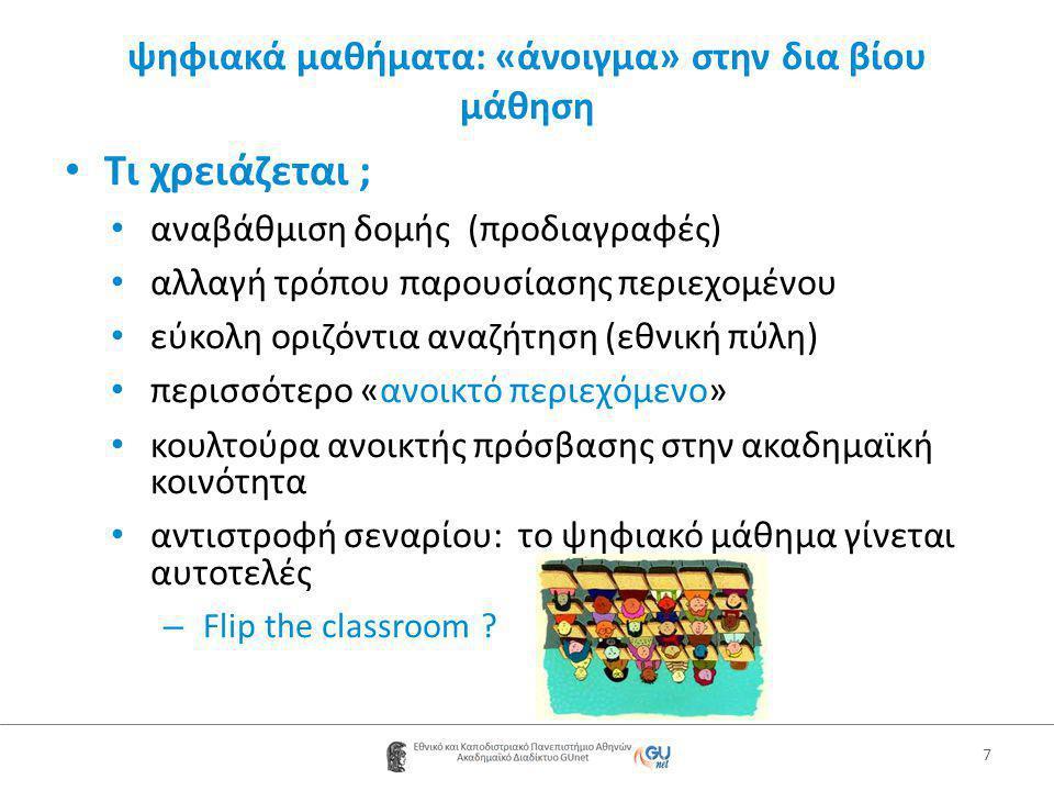 ψηφιακά μαθήματα: «άνοιγμα» στην δια βίου μάθηση