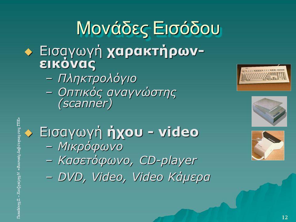 Μονάδες Εισόδου Εισαγωγή χαρακτήρων-εικόνας Εισαγωγή ήχου - video