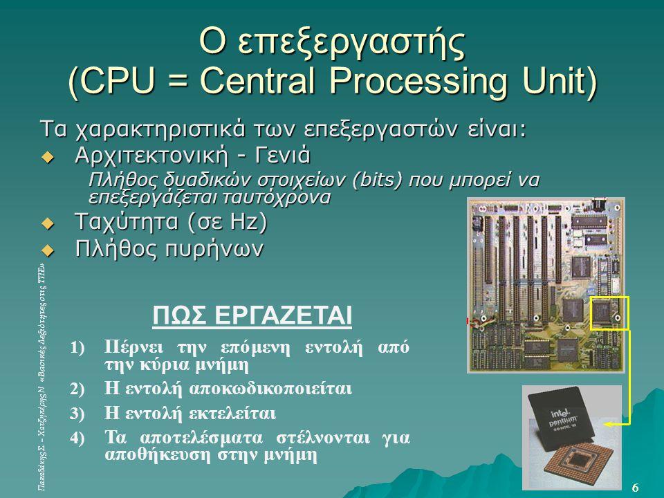 Ο επεξεργαστής (CPU = Central Processing Unit)