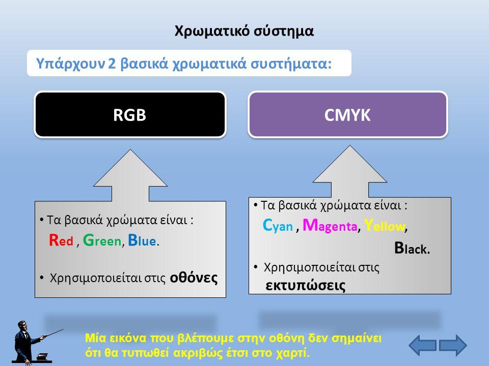 RGB CMYK Χρωματικό σύστημα Υπάρχουν 2 βασικά χρωματικά συστήματα: