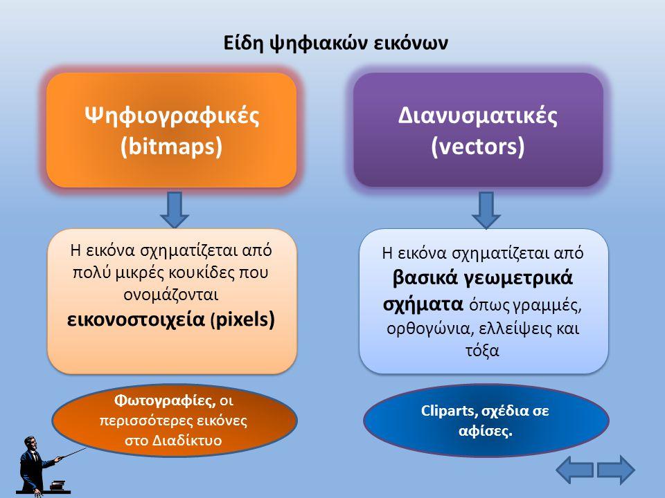 Ψηφιογραφικές (bitmaps) Διανυσματικές (vectors)
