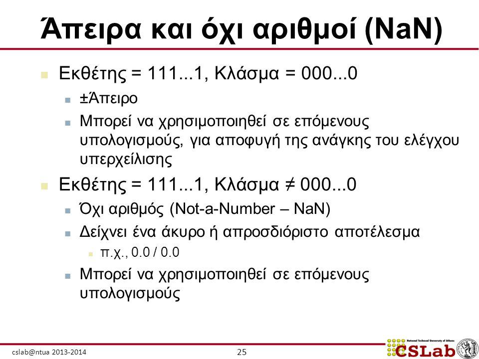 Άπειρα και όχι αριθμοί (NaN)