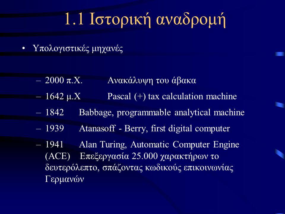 1.1 Ιστορική αναδρομή Υπολογιστικές μηχανές