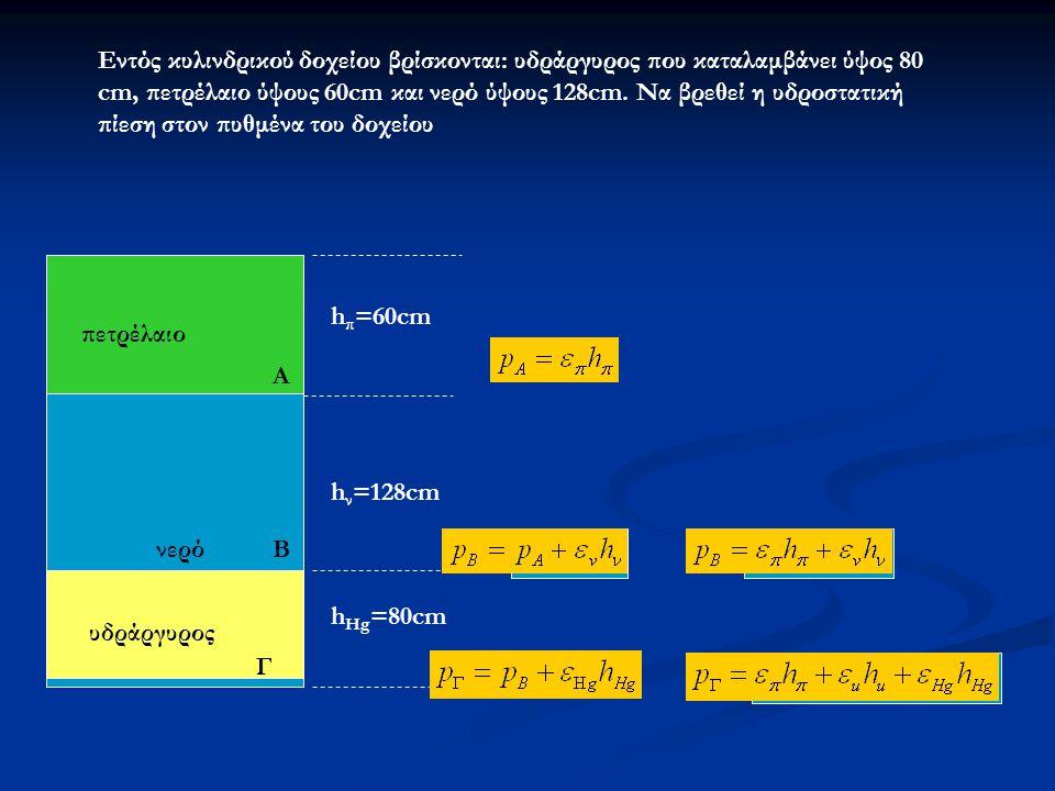 Εντός κυλινδρικού δοχείου βρίσκονται: υδράργυρος που καταλαμβάνει ύψος 80 cm, πετρέλαιο ύψους 60cm και νερό ύψους 128cm. Να βρεθεί η υδροστατική πίεση στον πυθμένα του δοχείου