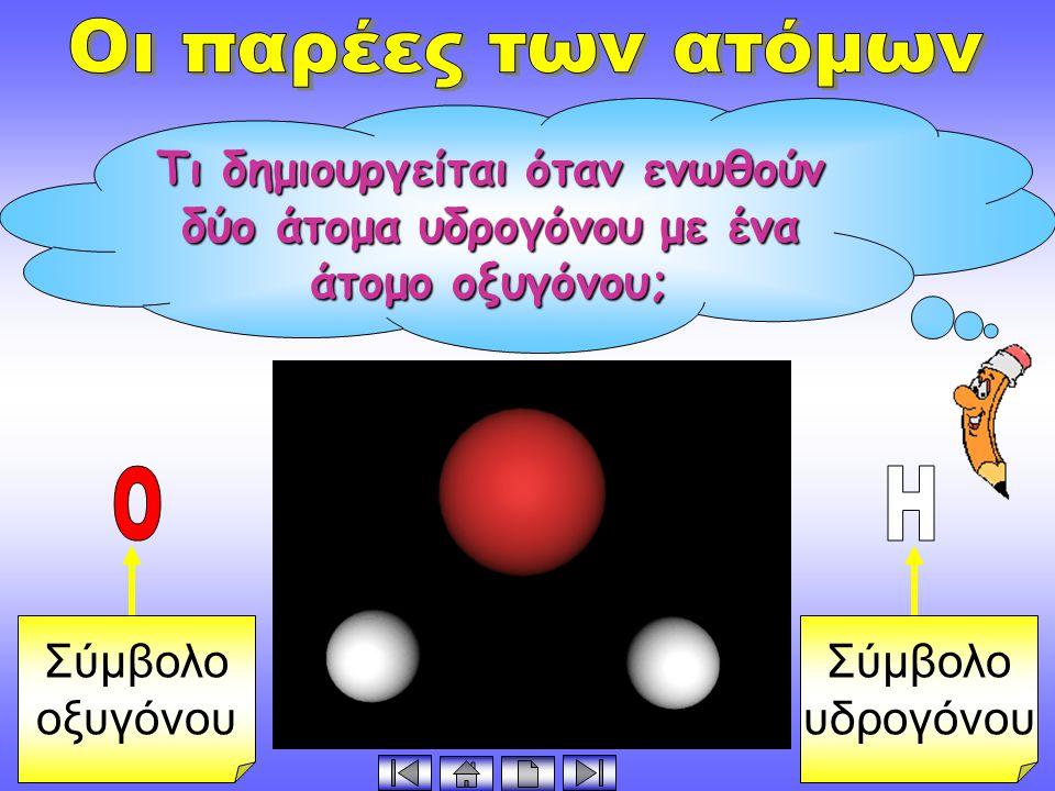 Οι παρέες των ατόμων Τι δημιουργείται όταν ενωθούν δύο άτομα υδρογόνου με ένα άτομο οξυγόνου; Σύμβολο.