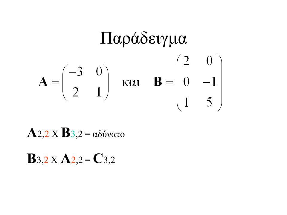 Παράδειγμα Α2,2 Χ Β3,2 = αδύνατο Β3,2 Χ Α2,2 = C3,2