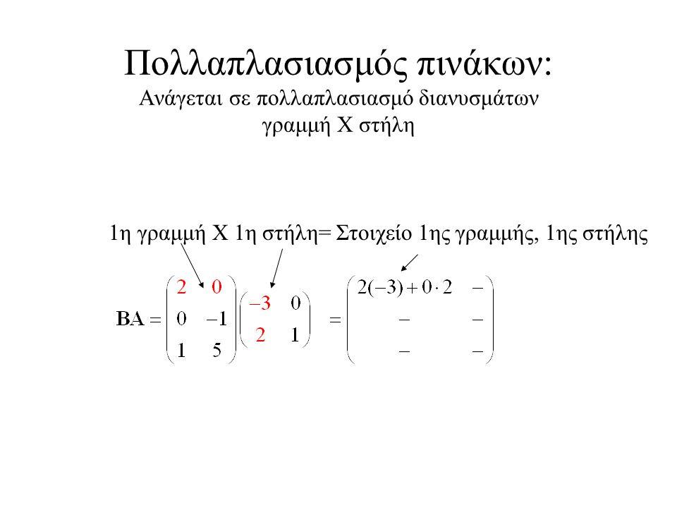 Πολλαπλασιασμός πινάκων: Ανάγεται σε πολλαπλασιασμό διανυσμάτων γραμμή Χ στήλη