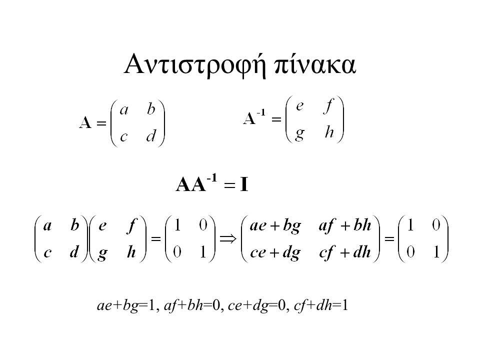 Αντιστροφή πίνακα ae+bg=1, af+bh=0, ce+dg=0, cf+dh=1
