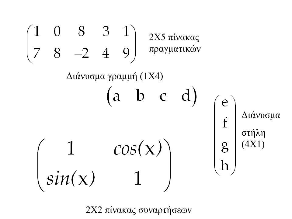 2Χ5 πίνακας πραγματικών Διάνυσμα γραμμή (1Χ4) Διάνυσμα στήλη (4Χ1) 2Χ2 πίνακας συναρτήσεων