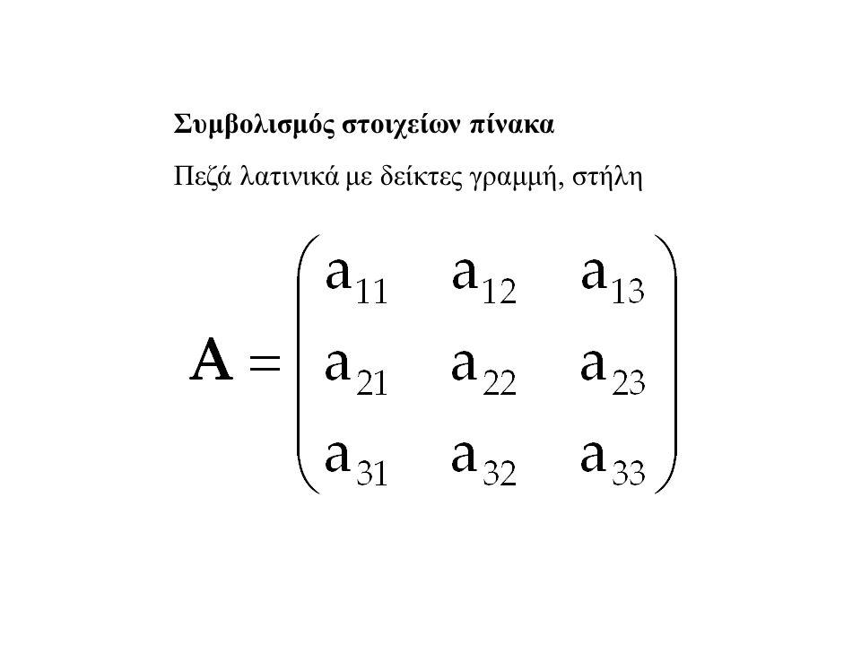 Συμβολισμός στοιχείων πίνακα