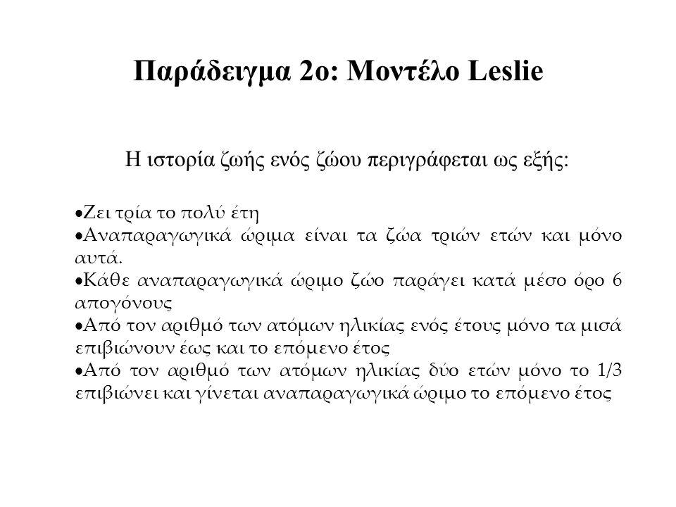 Παράδειγμα 2ο: Μοντέλο Leslie