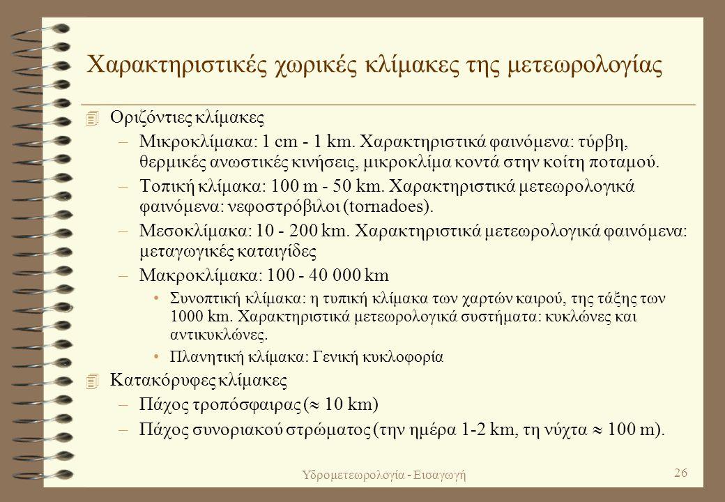 Χαρακτηριστικές χωρικές κλίμακες της μετεωρολογίας