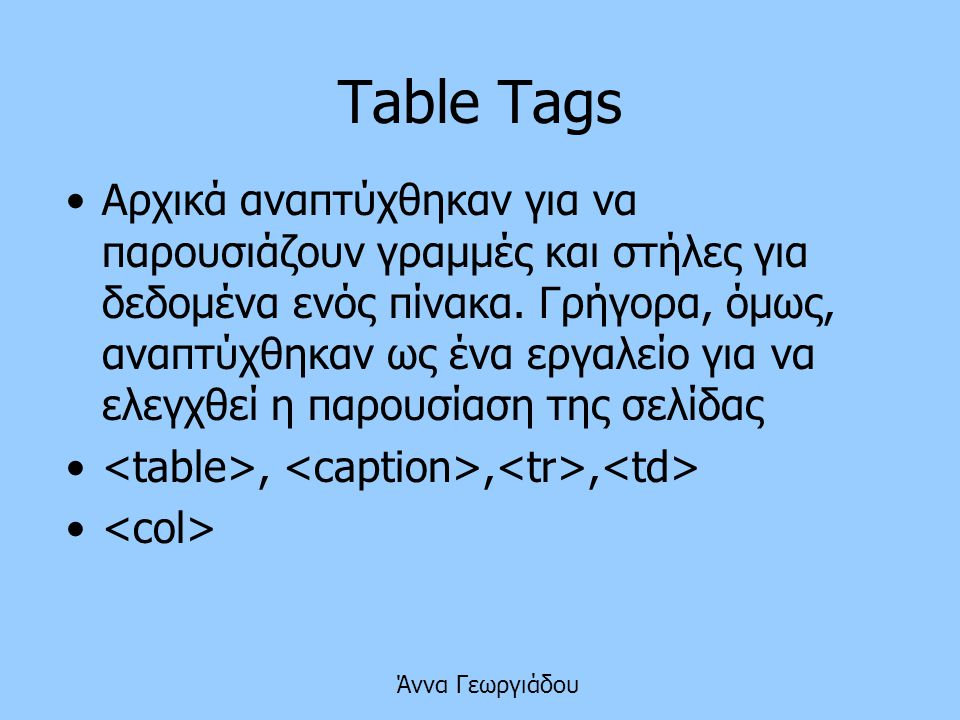 Table Tags